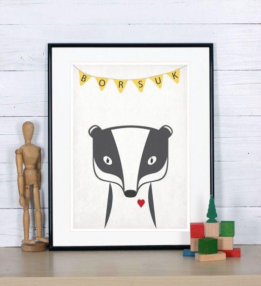 Plakat poznajmy zwierzęta - Borsuk, A3