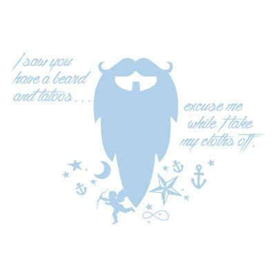 "The Decal Guru Beard Funny Quote Wall Decal Size: 48"" H x 70"" W x 0.01"" D, Color: Powder Blue"