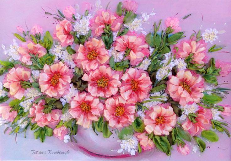 """Ricamo """" Il vaso con i fiori """" Silk ribbon embroidery, ricamo con nastro, da incorniciare,idea regalo, by Silkribbonembroidery, 100,00 € su misshobby.com"""
