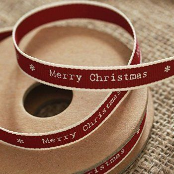 From 2.40:East Of India 'merry Christmas' Ribbon Red White Edging Narrow 3m Craft Xmas | Shopods.com