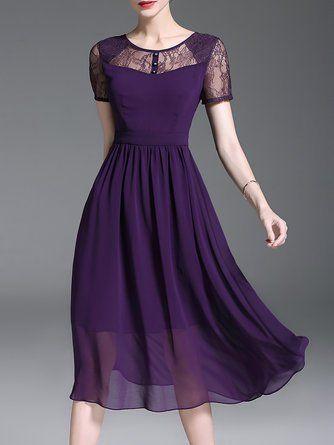 7daff94ae7 Purple Swing Short Sleeve Casual Paneled Solid Midi Dress ...