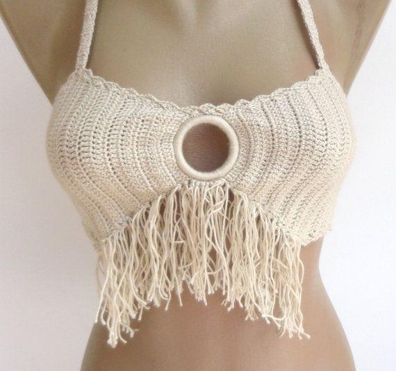 beige festival top crochet bikini top beachwear sexy crochet bikini girls accessory for summer senoAccessory on Etsy, 19,90$