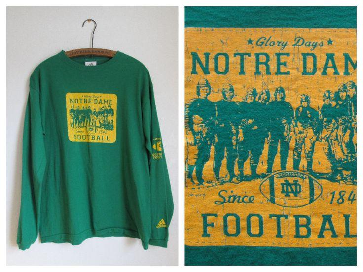 Adidas Notre Dame Football Fighting Irish Green Long Sleeve Cotton T Shirt- M #adidas #NotreDameFightingIrish