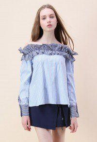 Catch Me in Stripes Ruffled Off-shoulder Top