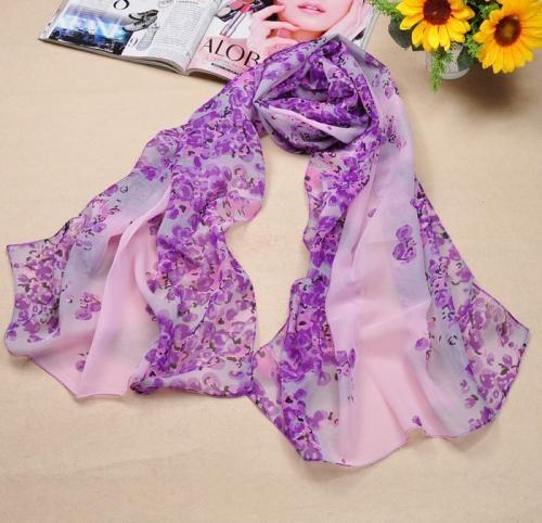 Sweet Little Flowers Print Purple Chiffon Scarves