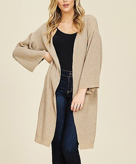58819bccd351a3 Annabelle USA Taupe Open Sweater Cardigan - Women | zulily | Sweater ...
