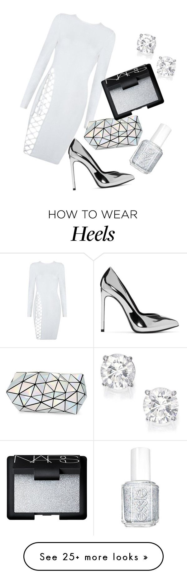 """""""white the night away"""" by dariah3412 on Polyvore featuring Yves Saint Laurent, Bao Bao by Issey Miyake, Essie and NARS Cosmetics"""