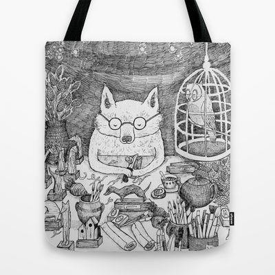 Wooden Workshop Fox Tote Bag by Ulrika Kestere - $22.00