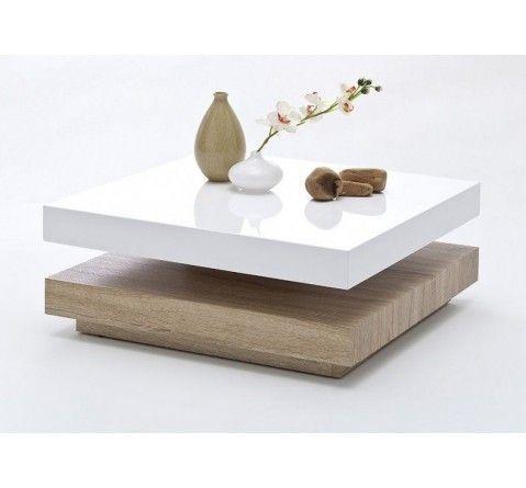 Table basse carrée pivotante laqué blanc/bois Margo