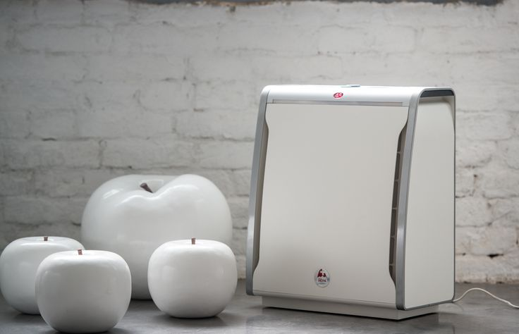 Giant ceramic fruit sculptures. Interior design and style with the innovative Lux Aeroguard 4S Air Purifier.