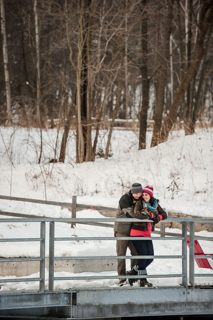 winter engagement at the evergreen brickworks