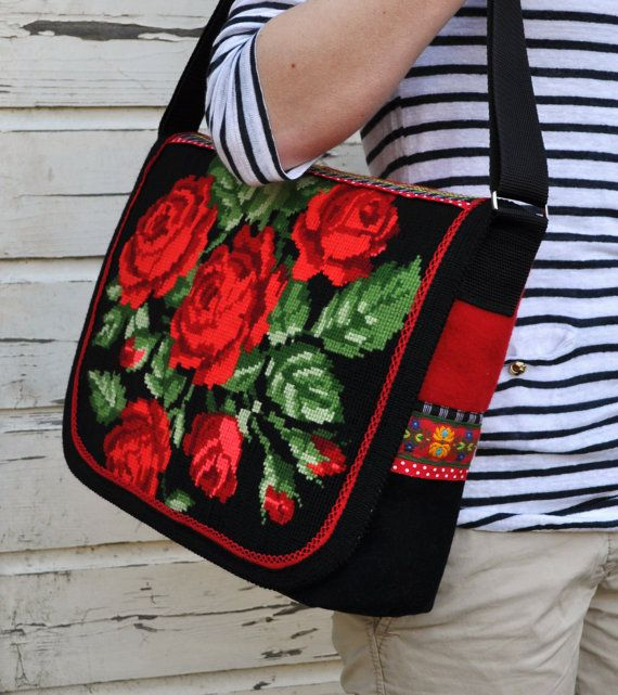 This messenger bag is made with a lot of love! It's a bag that has to be touched and it is unique! For this bag I used a embroidered painting of