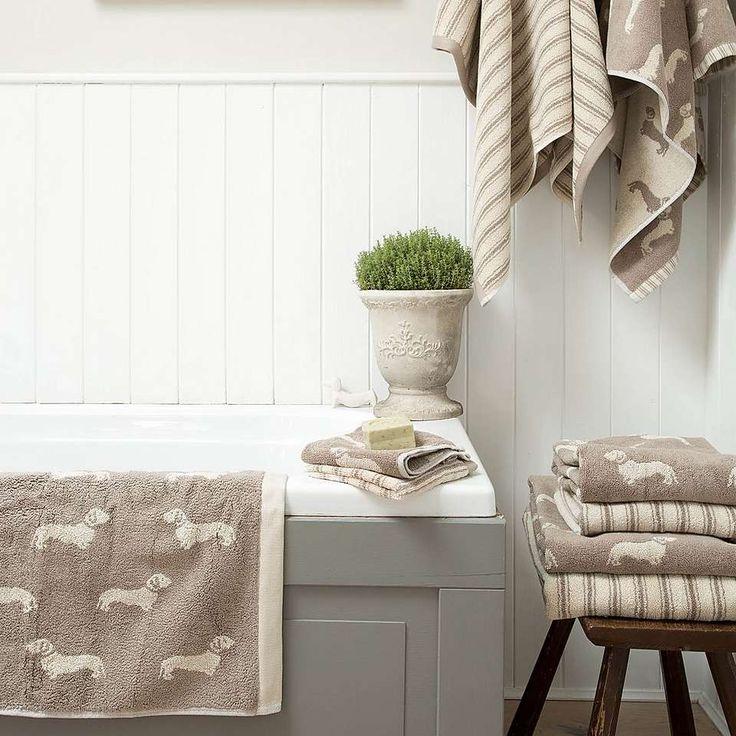 Emily Bond Natural Dachshund Cotton Towel | Dunelm