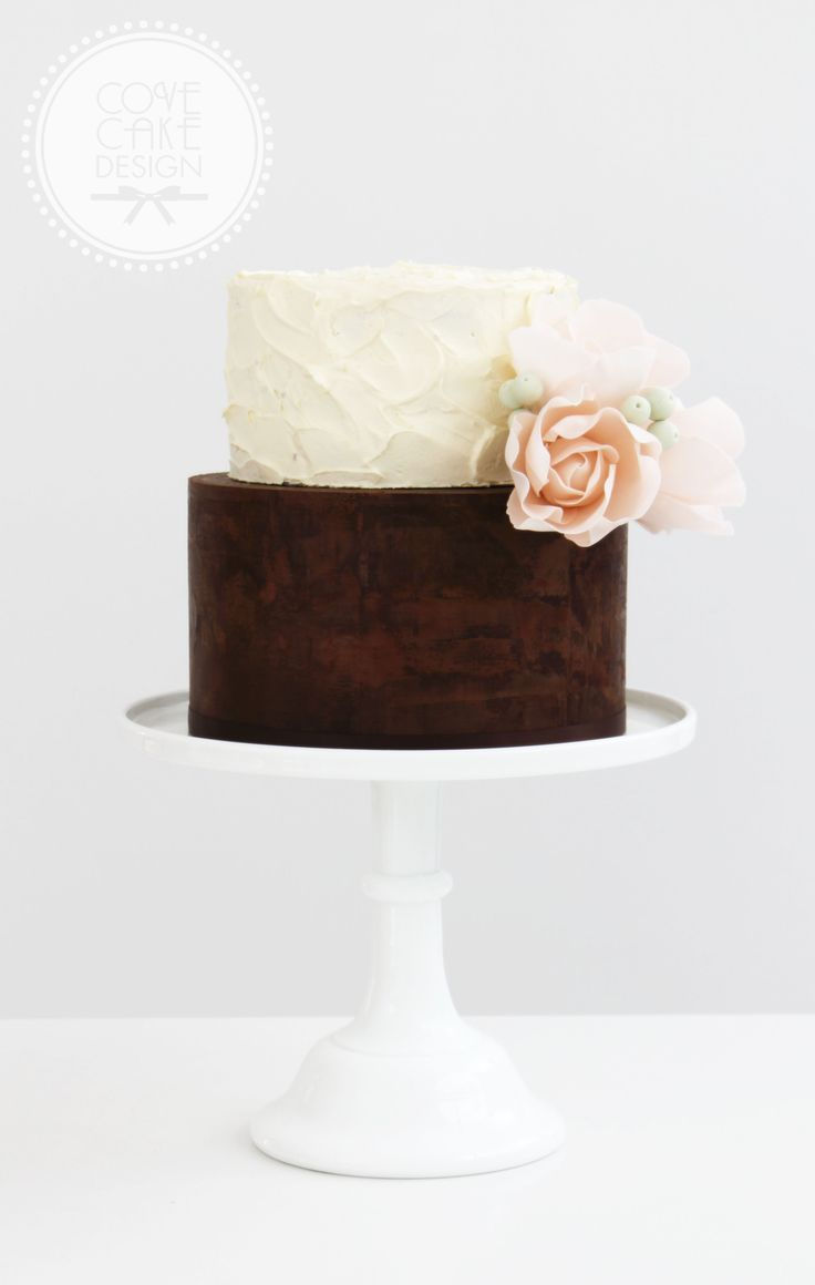 Naked ganache and rustic buttercream wedding cake with sugar flower bouquet