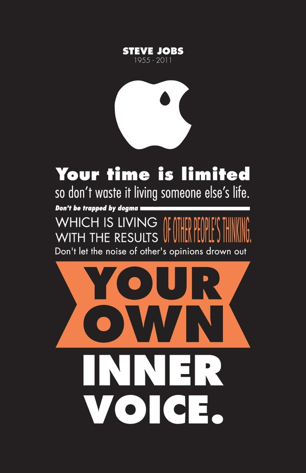Steve Jobs Tribute Your Time Is Limited So Dont Waste It Living Someone Elses Life Be Trapped By Dogma Let The Noise Of Others Opinions