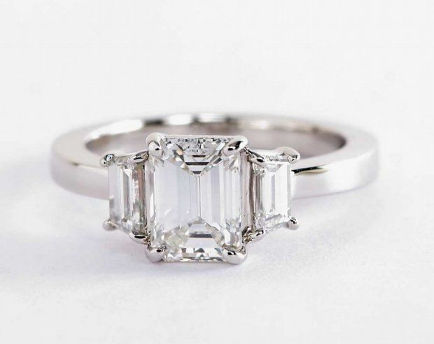 1.24 ct. Emerald-Cut Diamond in the Step Cut Trapezoid Diamond Engagement Ring\ | Blue Nile