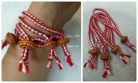 "Handmade Martenitsa - Bracelet  - Bulgarian Tradition ""Baba Marta"" - on First of March, Fiber Art, Handmade in US"