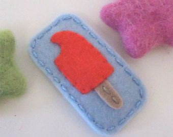 NO SLIP Wool felt hair clip Organic strawberry pale by MayCrimson
