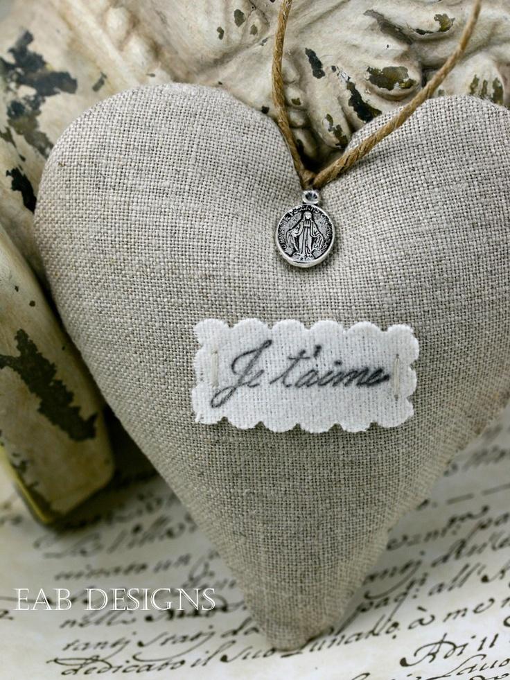 Lavender Filled Linen Heart Sachet, Valentines Day Sachet, French. $14.00, via Etsy.