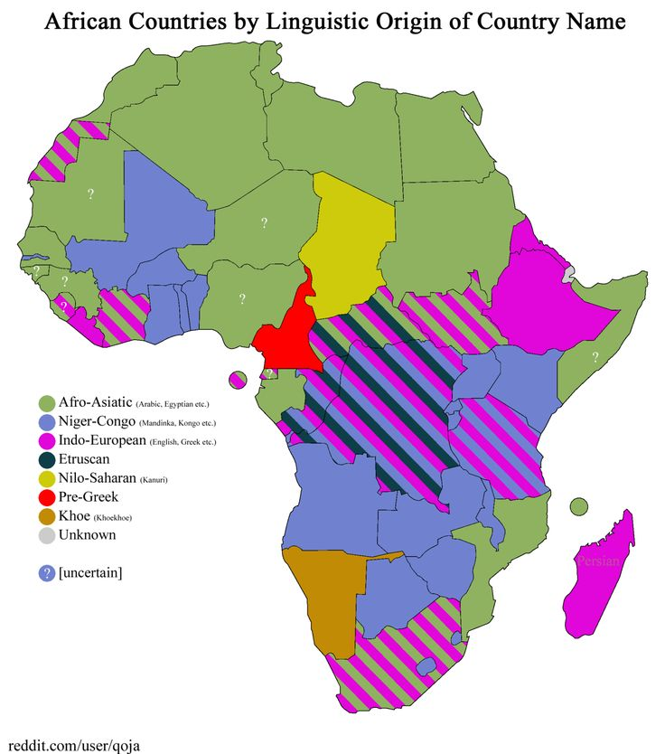 African countries by linguistic origin of country name.
