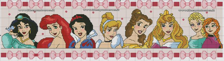 bordura punto croce principesse Disney