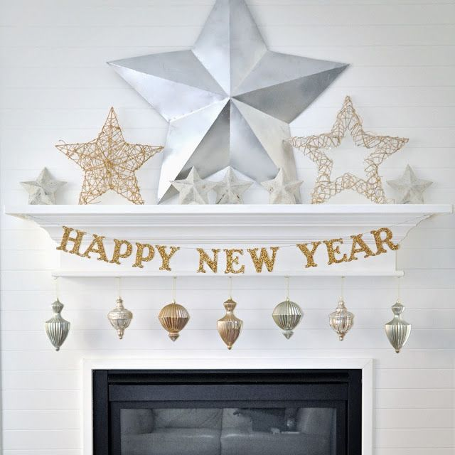 Happy New Year Decorations   Mantel