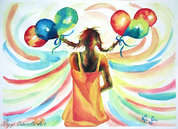 Bolondos szabadság című akvarellkép - Alkotásaim - Vágyi Gabriella ART