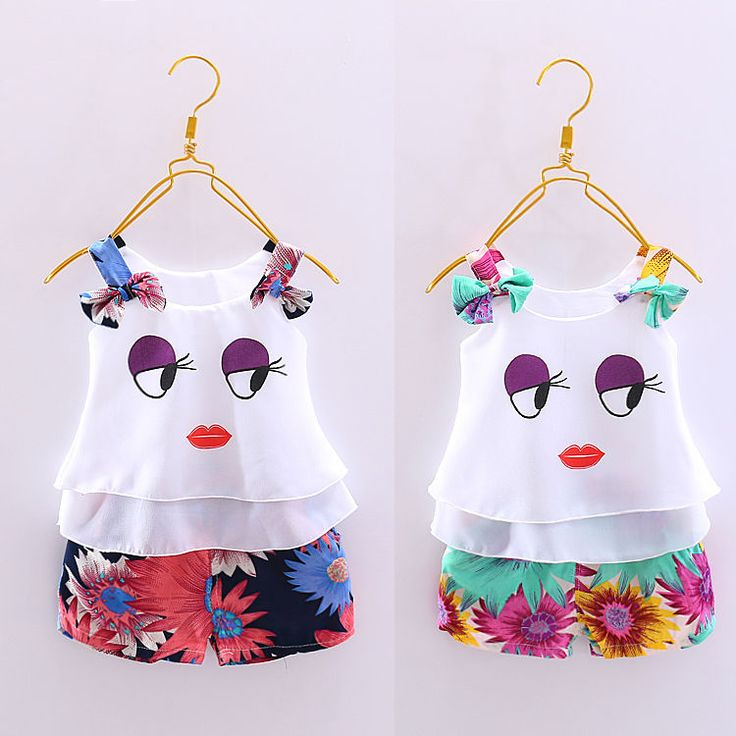 Usa Toddler Kids Baby Girl Vest Tops+Floral Short Pants 2Pcs Outfit Clothes Set