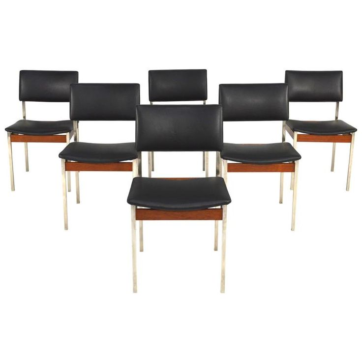 Set of Six Midcentury Chrome / Teak / Faux Leather Dining Chairs, 1960s   From a unique collection of antique and modern dining room chairs at https://www.1stdibs.com/furniture/seating/dining-room-chairs/