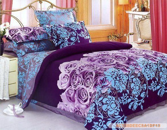 Purple Blue Flowers Design Queen Bed Quilt Comforter Duvet Cover Sets 4pc