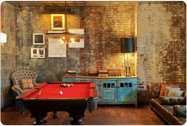 Soho House, New York: Games Rooms, New York Cities, Soho Houses, Leather Sofas, Brick Wall, New York Soho, Pools Tables, Man Caves, Hotels