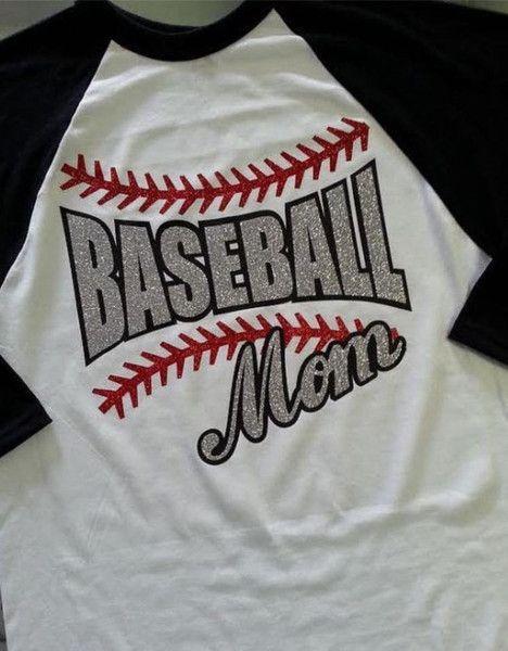 Baseball MOM Raglan Glitter T Shirt Baseball Or Softball