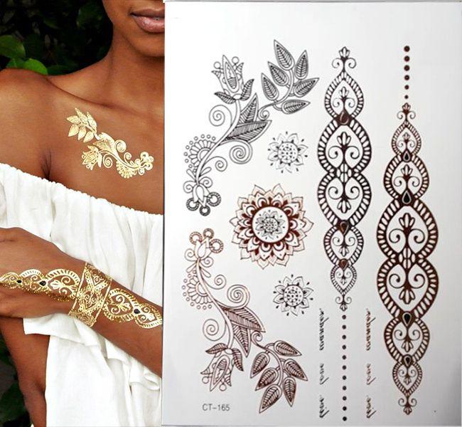 Золото татуировки продукты секса браслеты татуировки металлический временные татуировки женщины флэш золото Серебро татуировки taty