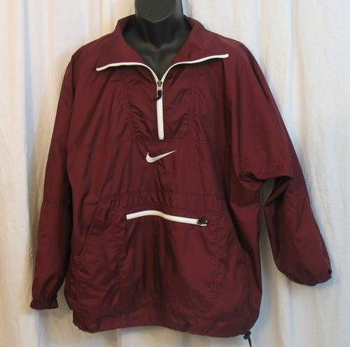 Nike Air Mens Burgundy Red Pullover Windbreaker Nylon