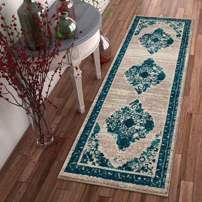 "Bungalow Rose Binstead Modern Distressed Vintage Power Loom Blue Area Rug Rug Size: 7'10"" x 9'10"""