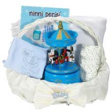Ninni bebek hediye sepeti. Müzikli Atlı karınca , ninni cd, pijama takımı ve battaniyesi ile dolu dolu doğum hediyesi