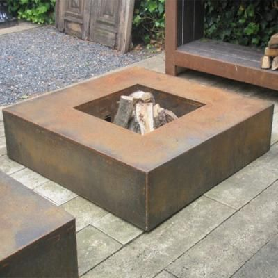 Corten Steel Square Fire Table - Stand out garden feature