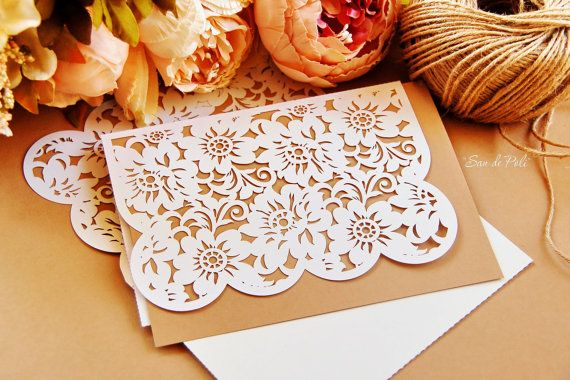 Peony Lace Wedding invitations Card Envelope by EasyCutPrintPD