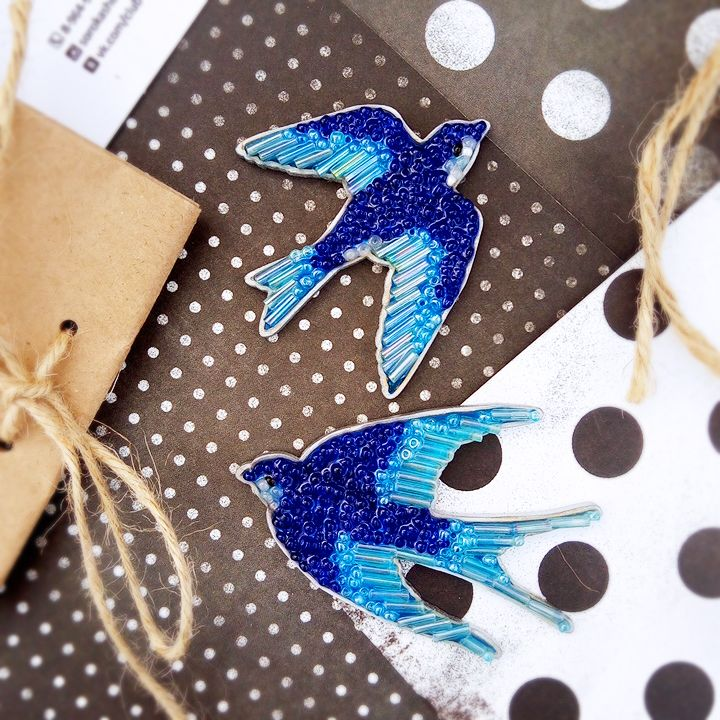Броши Ласточки от sorokashop. Brooches Swallows from sorokashop. Ручная работа. Handmade.