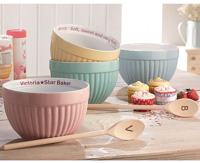 Personalised Mixing Bowl | Gorgeous personalised mixing bowl and spoon set. Glazed ceramic bowl in Turquoise, Yellow, Blue or Pink and wooden spoon are available to personalise to make them extra special. | £29.95 | Shop now at theoriginalgift.co.uk