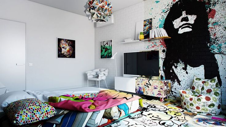 Fantastic-Indoor-Graffiti-Art-for-Teen-Bedroom-Ideas-with-White-TV-Cabinet.jpg (1024×576)