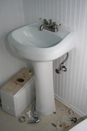Pedestal Sink Plumbing : wikiHow to Plumb a Pedestal Sink -- via wikiHow.com