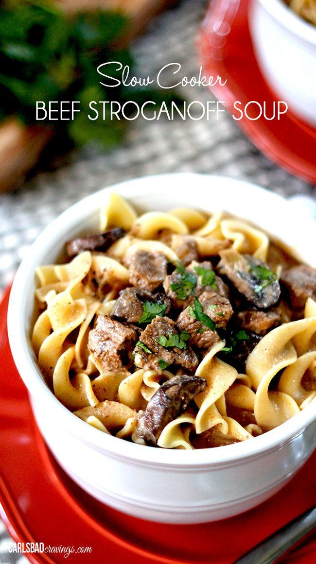 Slow Cooker Beef Stroganoff Soup | Savory, flavorful EASY comfort! Melt in your mouth beef simmered, tenderized and spiced with onions, garlic, Worcestershire sauce, Dijon, and spices in creamy mushroom broth.