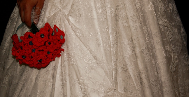 lace and crochet flower + button bouquet.