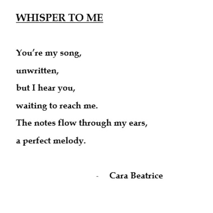 My poem whisper to me