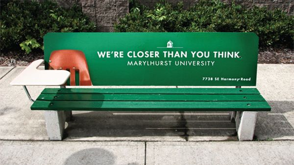 advertising, bench, creative, Examples, guerilla, inspiration, rest, Marylhurst University – We're Closer Than You Think