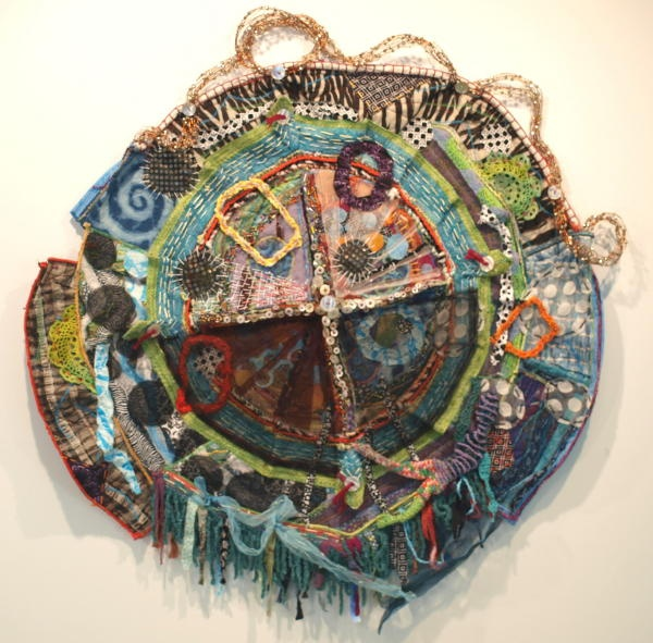 "CHRISTINE SAUER ""Circulate""  40x36x3""  2012  $5700.00  mixed media: stitched, beaded, crochet"