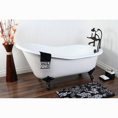 Features:  -Material: Heavy duty cast iron.  -Clawfoot feet.  -Smooth and easy to clean white porcelain enamel interior.  -Feet are powder coated over copper.  -Builtinadjuster feet allows uneven fl
