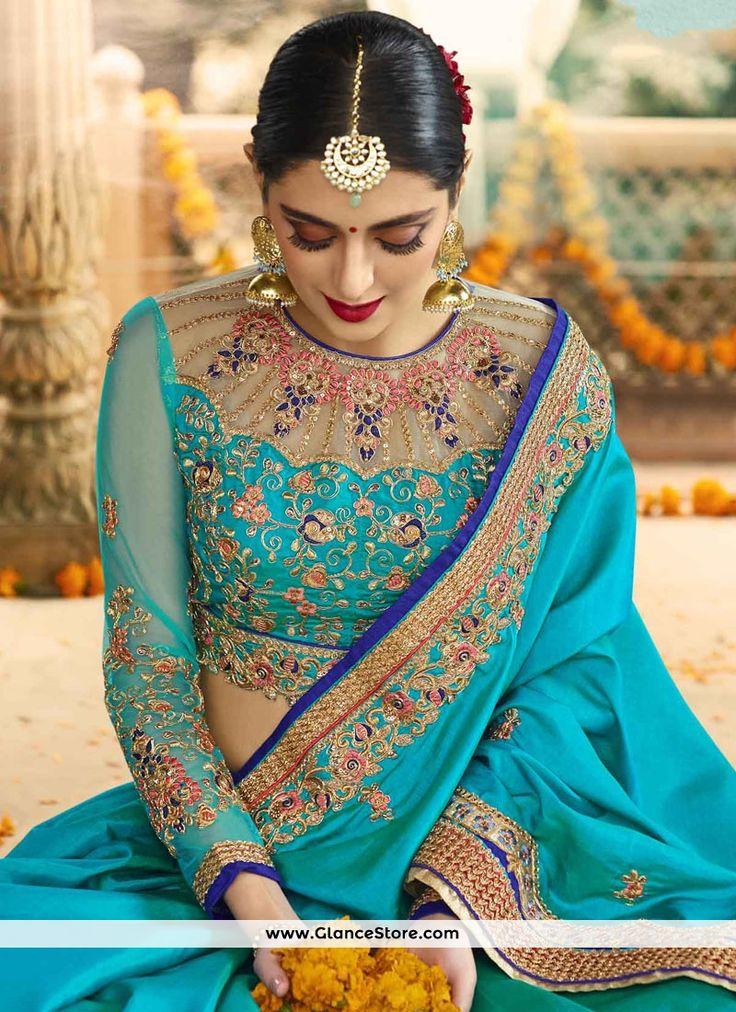 Thrilling Satin Turquoise Designer Saree