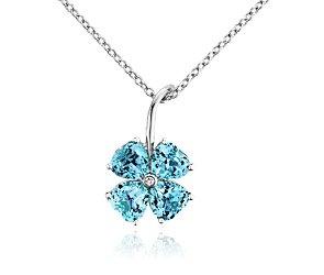 Blue Topaz Flower Pendant in 14k White Gold #BlueNile